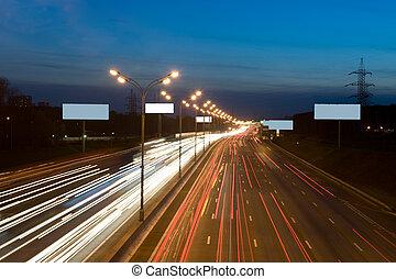 lichten, snelweg, nacht