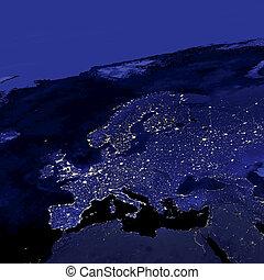 lichten, stad, europa