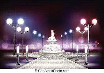 lichten, straat, samenstelling, realistisch