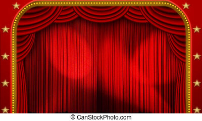lichten, &, toneel, theater, gordijn