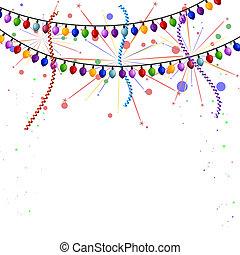 lichten, vuurwerk, wimpels, kerstmis