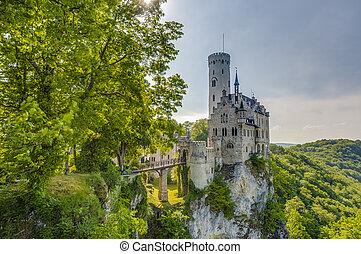 Neo-Gothic knights Lichtenstein Castle at the swabian region of Baden-Wurttemberg, Germany