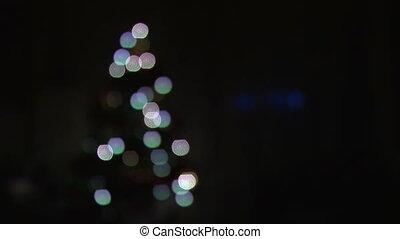 lichter, baum, weihnachten, verwischt