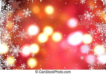 lichter, bokeh, schneeflocken, hintergrund, weihnachten