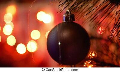 lichter, dekoriert, baum, weihnachten