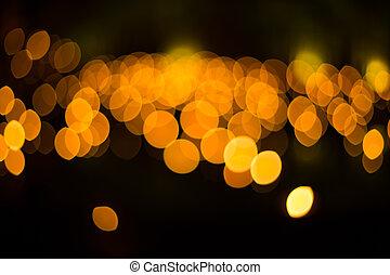 Lichter, heraus, Fokus, während, Nacht