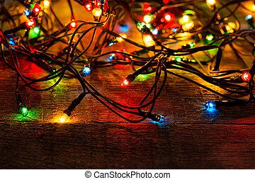 lichter, holz, weihnachten, hintergrund