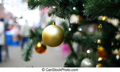 lichter, kugeln, baum, weihnachten