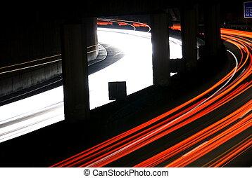 lichter, nacht, landstraße, verwischt