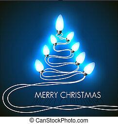 lichter, vektor, baum, weihnachten, hintergrund