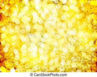 lichter, vektor, weihnachten, gold, hintergrund.