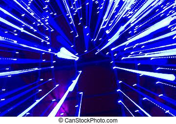 lichtgeschwindigkeit, -, blaues, spuren, von, punkte, licht, in, space.
