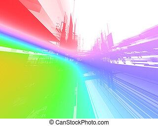 lichtgevend, abstract, achtergrond, toekomst