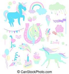 lichtgroen, en, aquamarijn, unicorns, met, zoetigheden, rozen, op wit, achtergrond.
