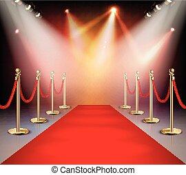 lichtinval, samenstelling, rood tapijt
