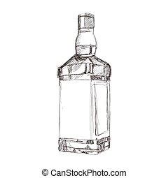 licor, bosquejo, botella, icono