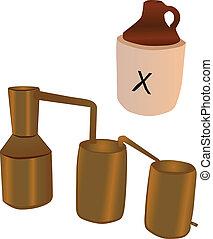 licor destilado ilegalmente, todavía