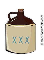 licor destilado ilegalmente, viejo, jarra