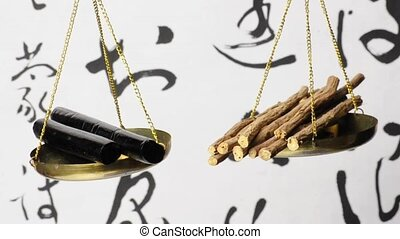 licorice, sticks and twigs on a balance