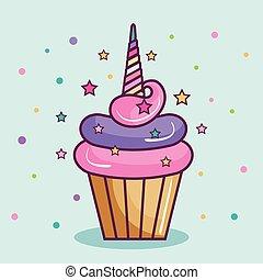 licorne, conception, petit gâteau