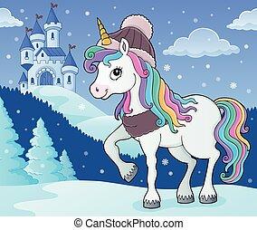licorne, image, hiver, thème, 2