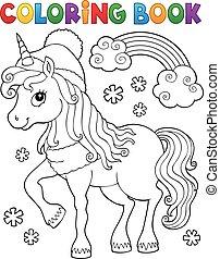 licorne, thème, hiver, coloration, 1, livre