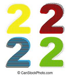 liczba 2, znak, projektować, szablon, elements., vector.,...