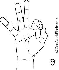 liczba 9, chirologia