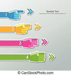 liczba, ręka, papier, infographics