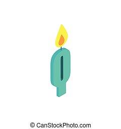 liczba, urodzinowe celebrowanie, zero, świeca