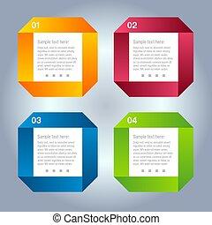 liczbowany, czuć się, używany, układ, chorągwie, nowoczesny, kwestia, poziomy, /, website, vector/horizontal, graficzny zamiar, może, szablon, infographics, cutout, albo