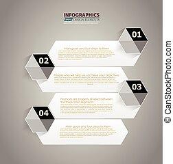 liczbowany, website, styl, graficzny, układ, alfabet, nowoczesny, kwestia, poziomy, /, infographic, chorągwie, wektor, projektować, szablon, infographics, cutout, albo, minimalny