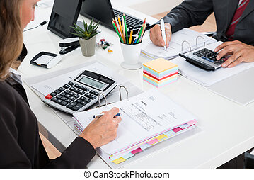liczenie, finansowy, dwa, deklaracja, businesspeople