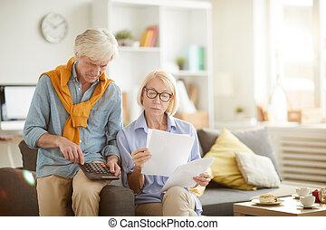 liczenie, para, podatki, senior