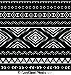 lidé, vektor, okrasa, seamless, aztécký