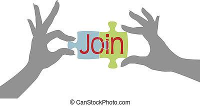 lid, raadsel, toevoegen, samen, handen