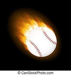 lidelsefull, vektor, flygning, luft., eld kula, baseball, illustration., block, genom