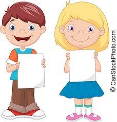 liden, børn, cartoon, holde, blank