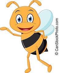 liden, bi, aflægger, cartoon