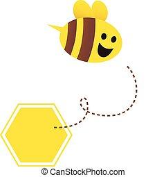 liden, bi, -, honning, vektor, flyve