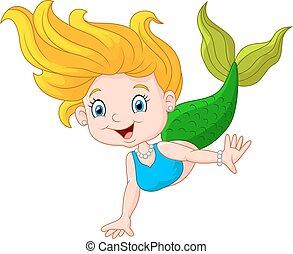 liden, cartoon, glade, havfrue