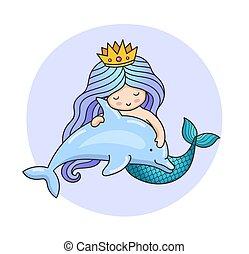 liden, drømmeagtige, dolphin., havfrue, prinsesse