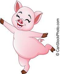 liden, gris, cartoon, dansende