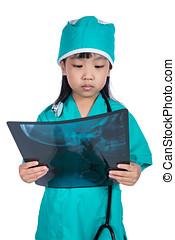 liden, kinesisk, doktor, stetoskop, asian pige, spille, x-ray