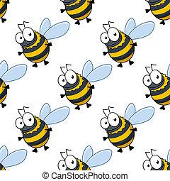 liden, mønster, seamless, tyk, honning, bier