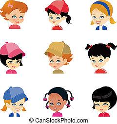 liden, sæt, pige, cartoon, ansigter