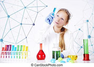 liden, speciallæge, ind, kemisk, laboratorium