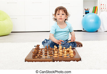 liden, toddler, dreng, hos, chess planke