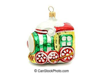 liden, tog, træ christmas, stykke legetøj
