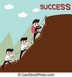 liderança, business., sucesso, equipe